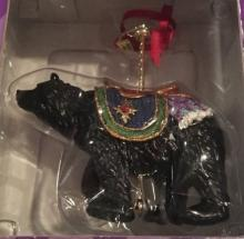 New Costco Carousel Brown Bear Christmas Ornament New In Box holiday decor