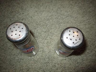 Pepsi Cola Drink Pepsi Cola Ice Cold Glass Salt Pepper Shakers , Vintage Rare  4.5