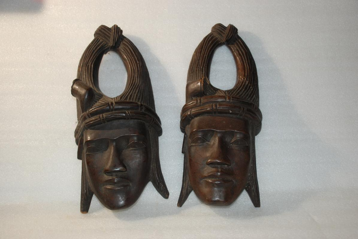Pair of Indochina Wood Carved Heads Wall Art / Antique