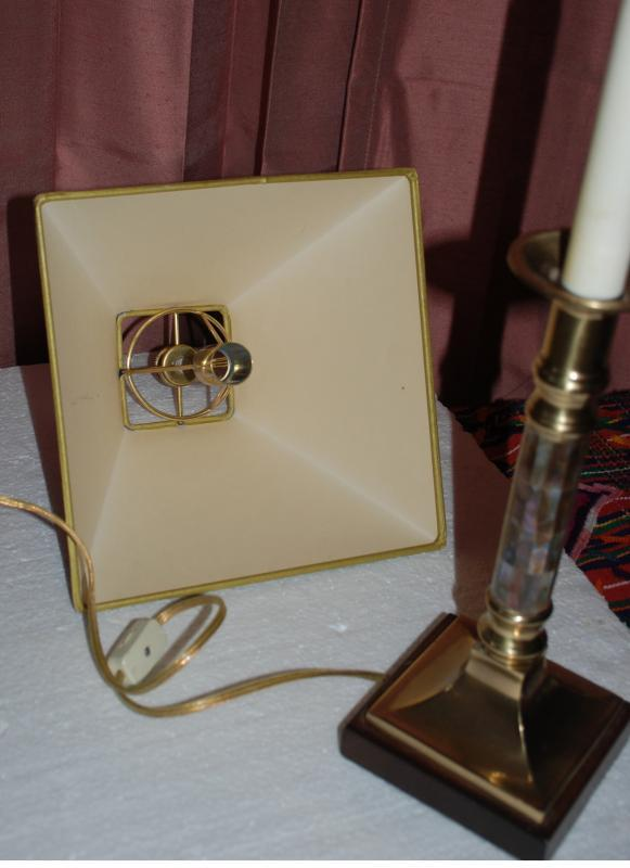 Frederick Cooper Candlestick Table Lamp with Brass  Abalone Shell Inlay Base