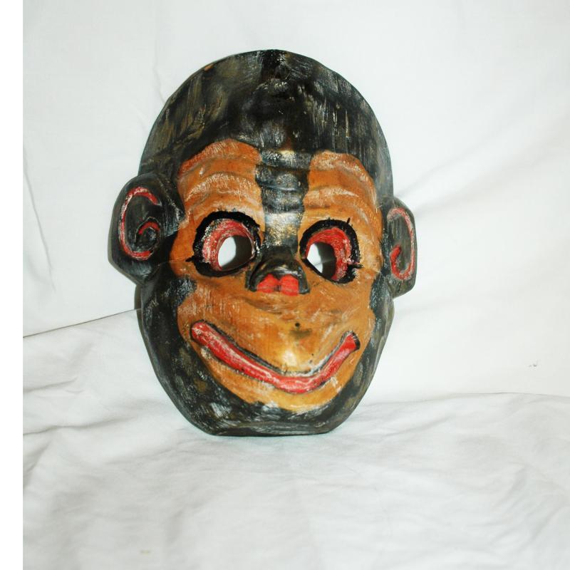 Vintage Guatemala Mono Mask Monkey Mask Hand carved Wood and painted