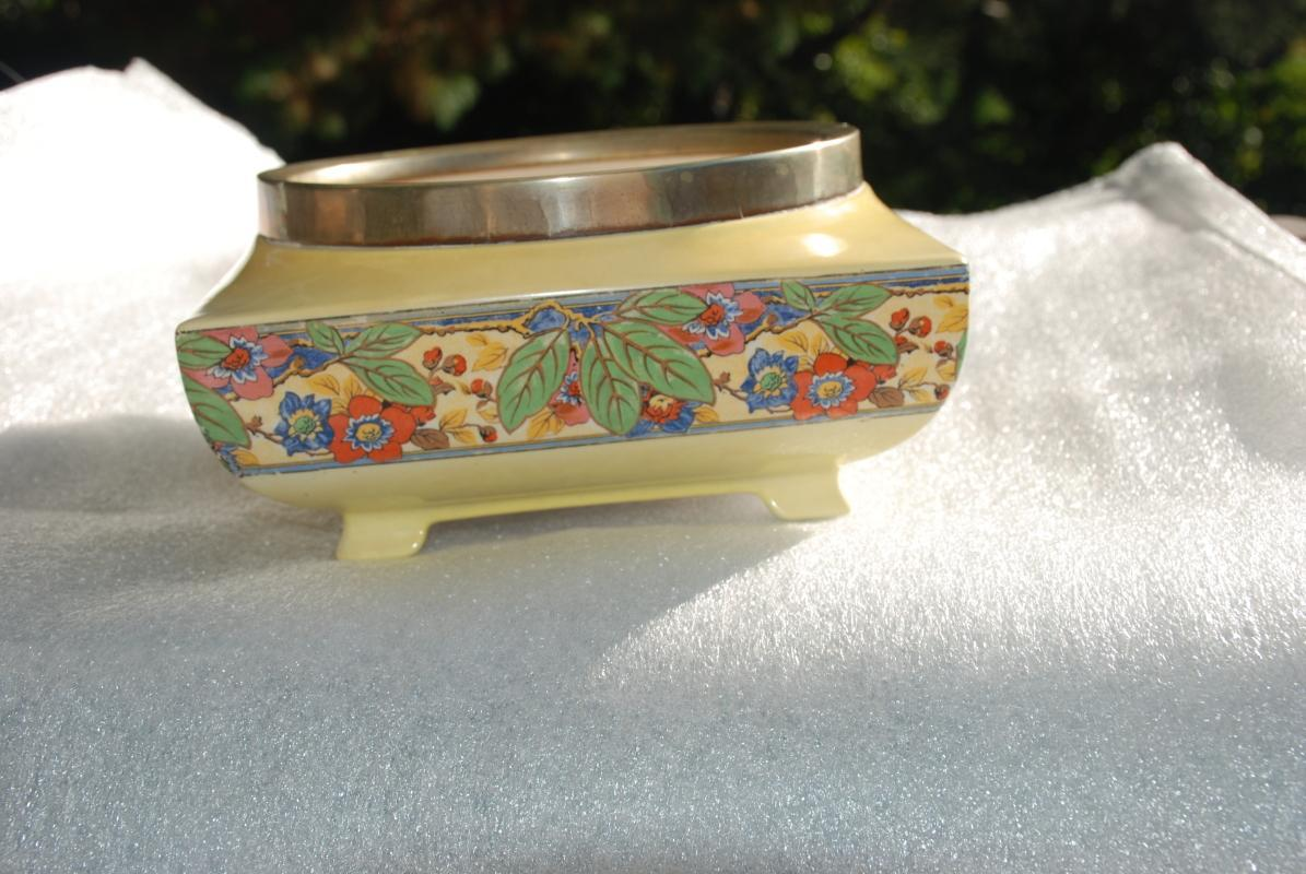 Lancaster & Sons Ltd Hanley England Footed Bowl, Yellow with Flowers and Leaves  Art Deco Berry Bowl
