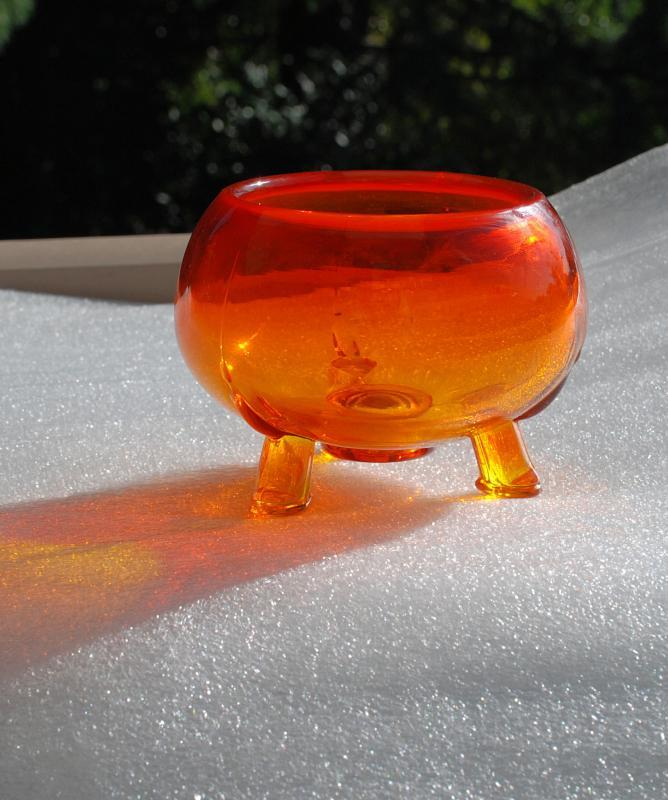 Orange to Yellow  Glass Footed Bowl Amberina Italian Glass