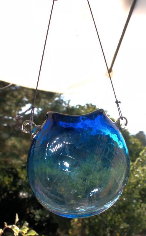 Blown Crackle Glass Flask, Hanging Vase Blue Signed 'Glass Art