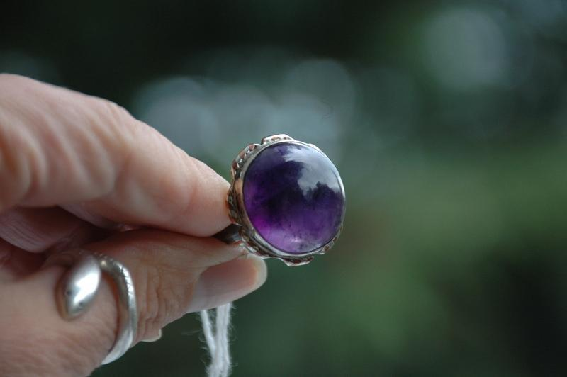 Large Amethyst and Sterling Silver Vintage   Ring