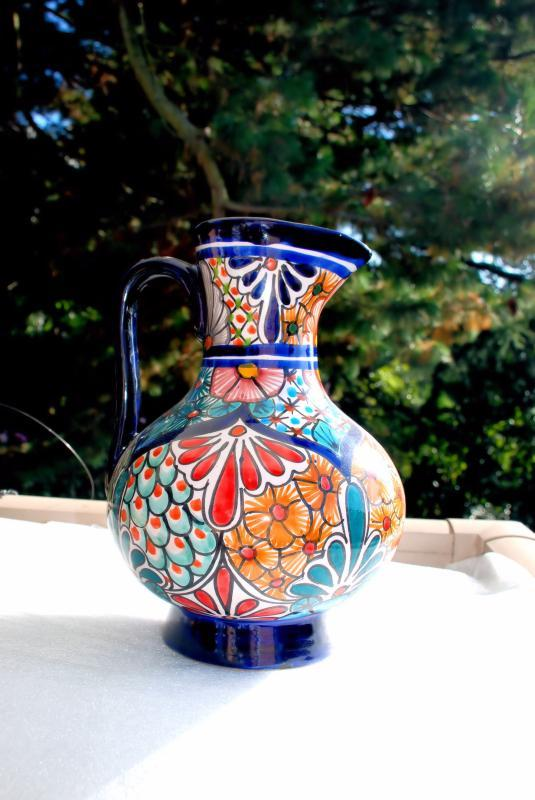 Talavera Pitcher, Large 12 1/ 2 inches Tall Cobalt Blue With Flowers Mexico,