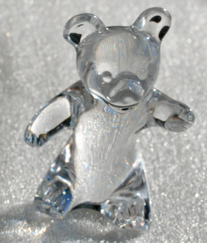 Daum French Crystal Art Glass Teddy Bear Signed Figurine paperweight