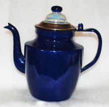 Cobalt Blue Enamel Coffee Pot Percolator with Glass