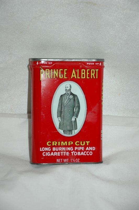 Vintage-PRINCE-ALBERT-Crimp-Cut-Empty-TIN-CAN-PIPE- -CIGARETTE-TOBACCO-USA