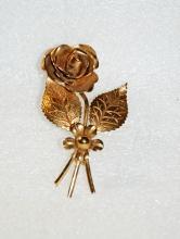 Coro Gold Tone Rose & Flower Brooch Pin