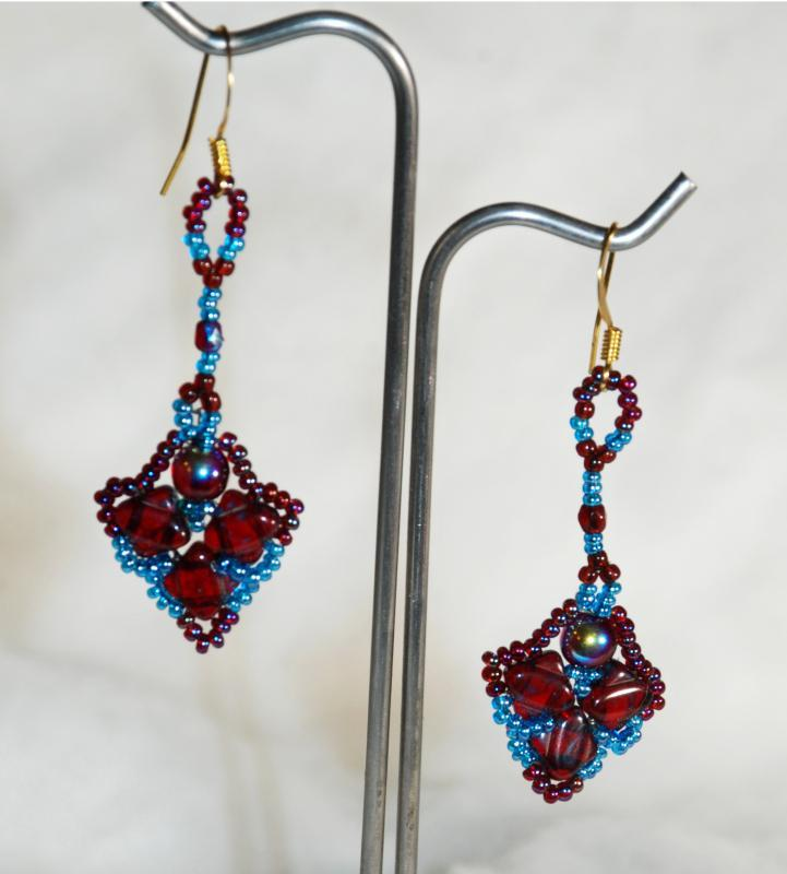 Dark Garnet and Blue Dangle  Picasso Silky Beaded Earrings Hand Crafted one of a kind
