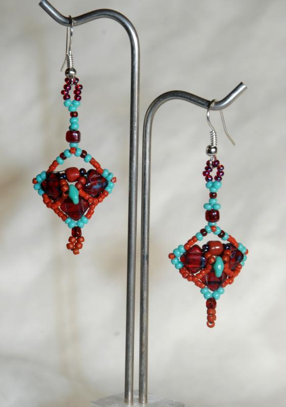 Tribal  Earrings  Dark Garnet and  Blue Turquoise Draped Pattern  Picasso Silky Beaded Earrings Hand Crafted one of a kind