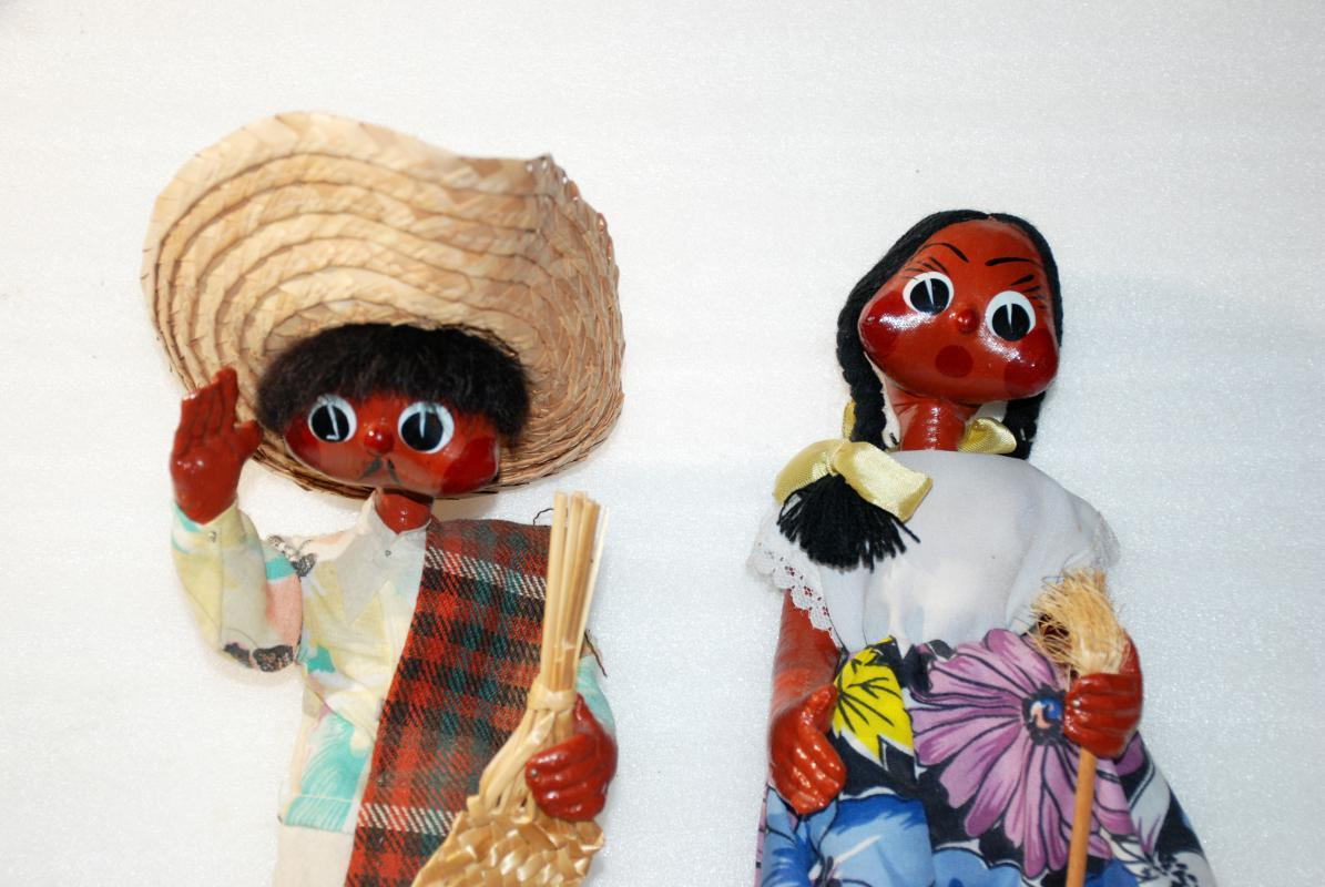Old Mexican Folk Art Papier Mache Gourd Toluca Dolls  Boy & Girl Jointed