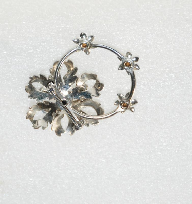 Silver & Crystal Rhinestone Flower and Circle Pin Brooch