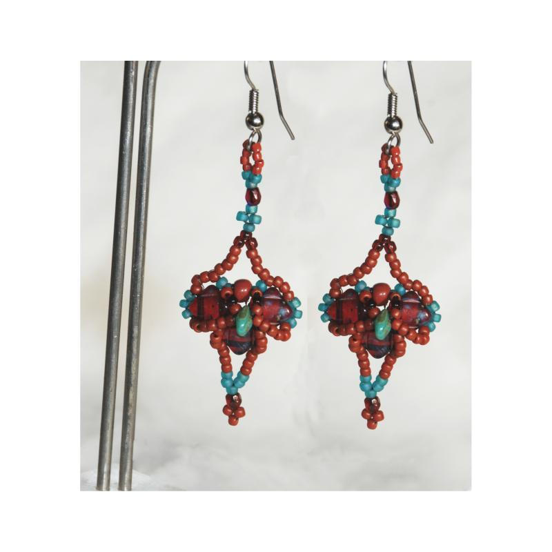 Tribal  Cross  Earrings Dark Garnet and  Blue  Turquoise Draped Pattern Czech  Beaded Earrings Hand Crafted one of a kind