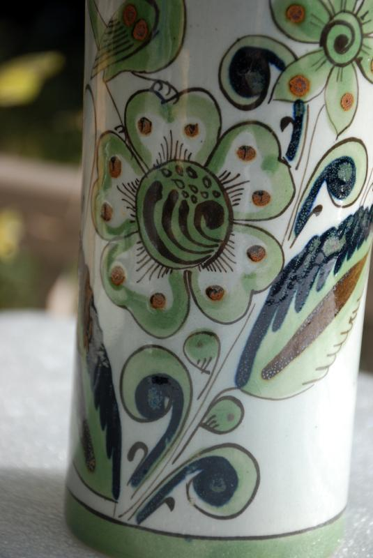 Vintage Ken Edwards Tonala Mexican Pottery Cylinder Vase   for El Palomar Greens & Blue