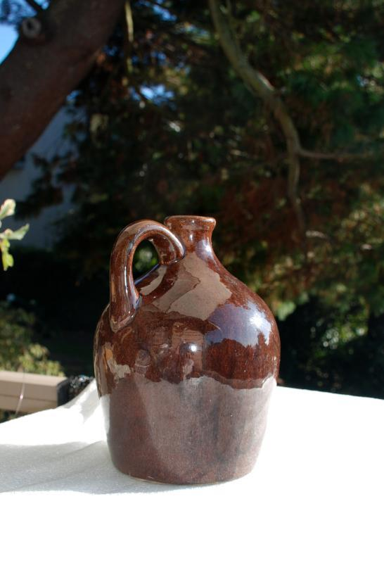 Sprague  Stoneware Musical Whiskey Jug 1930s Ceramic Little Brown Jug w Music Box
