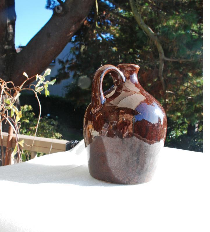 Sprague  Stoneware Musical Whiskey Jug 1930s Ceramic Little Brown Jug w Music Box