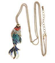 Double Sided Enamel Rhinestone Fish Pendant Necklace Vintage.