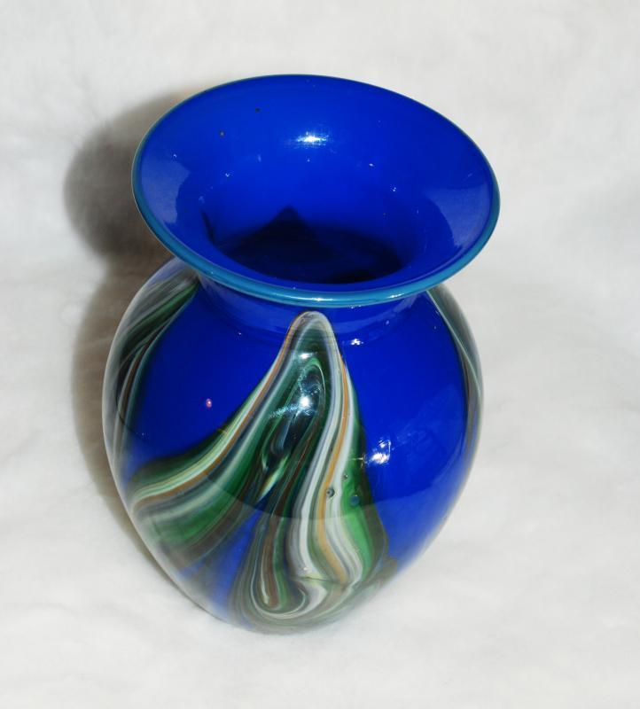 Art Glass Vase by Studio Artist Dehanna Jones  of  Totally Blown Glassworks  Blown Glass Vase Blue with Pulled Glass Feathering or leaves of greens and browns.