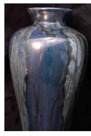 Iridescent Luster Drip Glaze Vase, Earthenware Clay  with gold and palladium lusters Shannah Fain