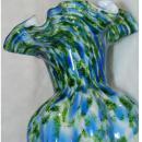 Vintage Fenton Art Glass Vase Vasa Murrhina Blue Green Aventurine Ruffle Scallop