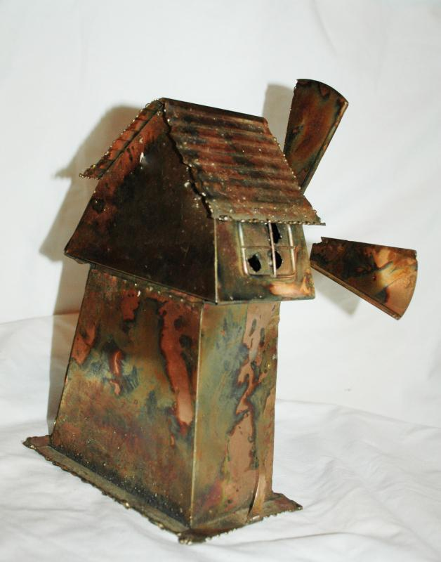 Copper Windmill Music Box , Hand Crafted Folk Art ,  Colorful heat treated copper