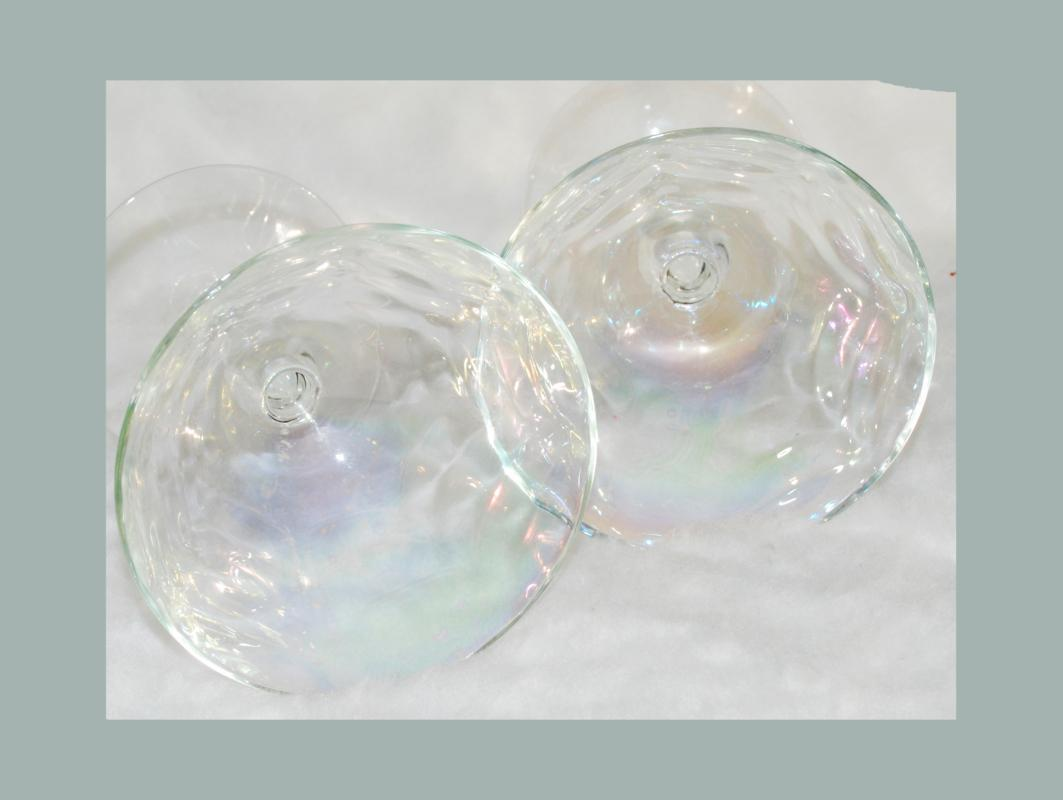 Vintage Iridescent Optic Glass Cocktail Coupe Martini Champagne Wine Glasses x 2