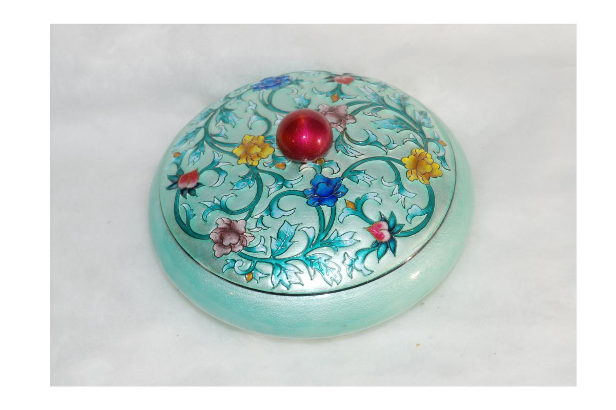 Pure Silver 99% & Enamel Cloisonne Lidded Bowl Dresser Jar Trinket Box Korean 392 Grams pure silver