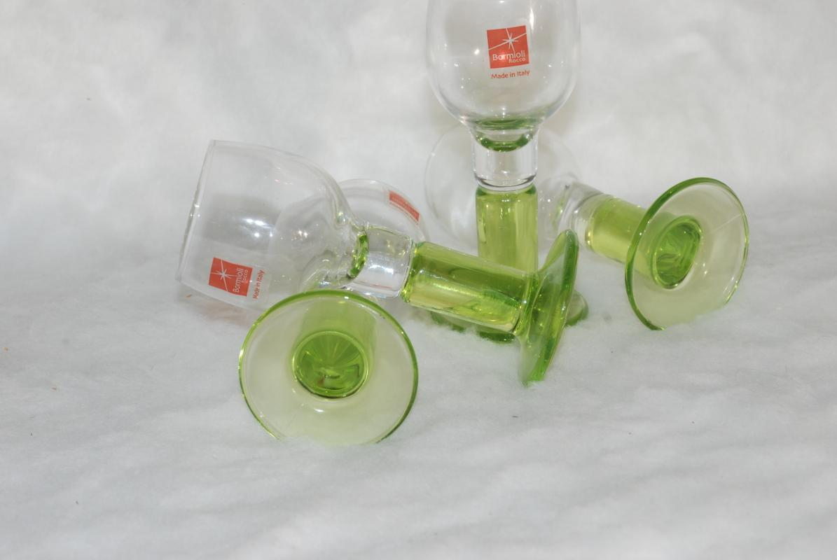 Bormioli Italy Rocco Limoncino Cordial Green Footed Shot Glasses, Set of 4