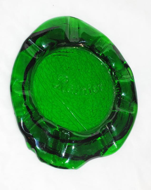 Rare Rainier Beer Brewery  Hand Blown Green Glass Amorphic Ashtray ( possibly one of a kind!)