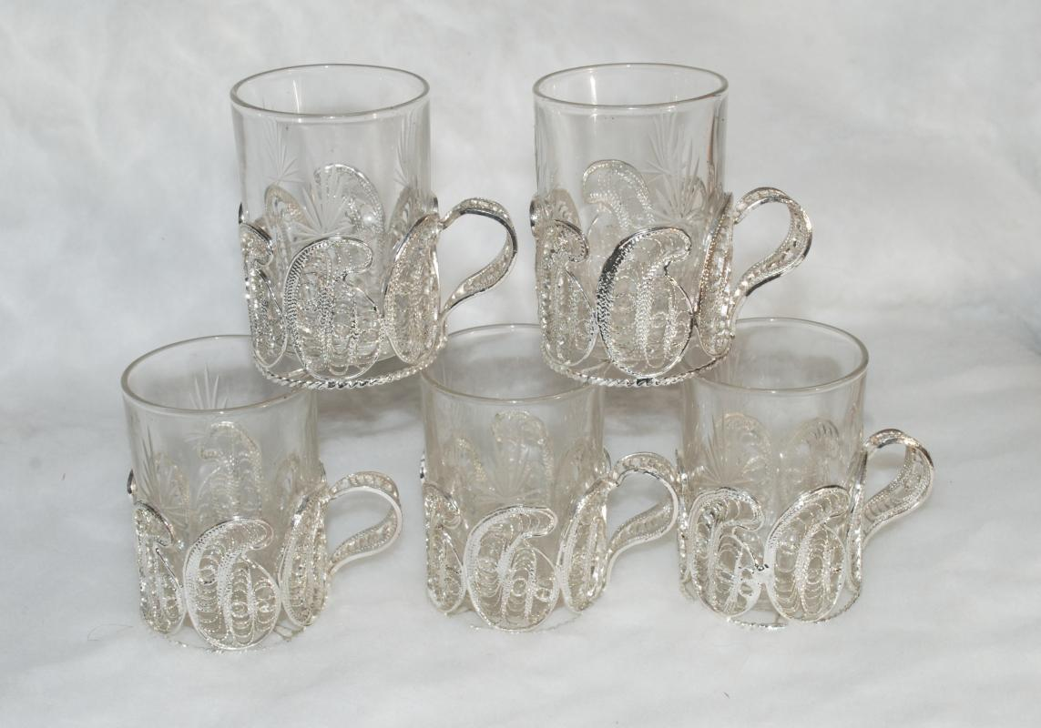 RUSSIAN SILVER  FILIGREE &  CRYSTAL  GLASS  TEA CUPS   x 5