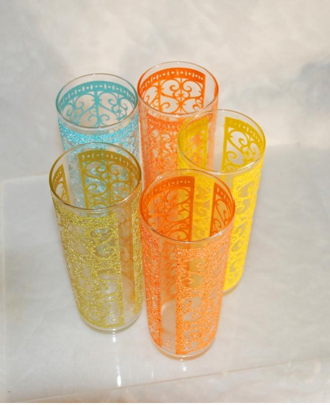 5 Libbey Starlyte Glasses MADRID Vintage Festive Bright Scroll Desgin Retro 1960s  Cocktail, High Ball  RARE!