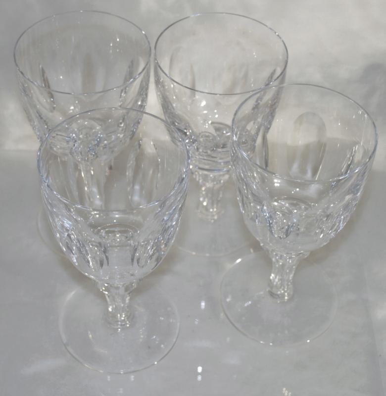 Crystal Stemware Goblets Short  Faceted Stem & Cut Oval Panels x 4