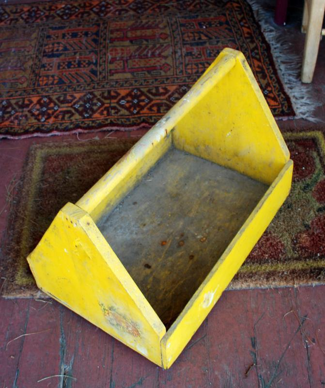 Vintage Yellow Painted Wood Wooden Garden Caddy Fruit Picking Gathering Tote Tool Box  Box