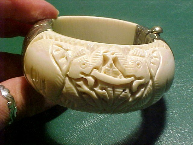Massive Tusk Ivory & Silver Hinged Bracelet with Deeply Carved Elephants