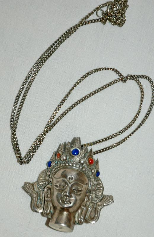 PENDANT CHENREZIG  BUDDHA STERLING SILVER with LAPIS AND CORAL  NEPAL  Large  3D