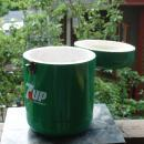 Rare 7up The UnCola Cooler, Picnic  Ice Chest , Metal  Round with Wood Handle