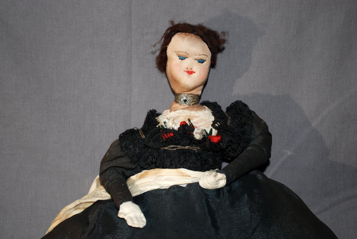 Antique Cloth Doll Tea Cozy with Black Dress, Lace and Glass Beads  Russian