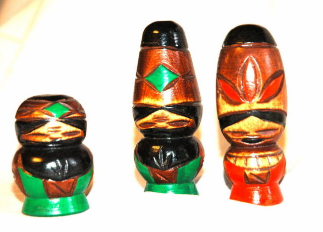 Collection of 3 wood caved & painted Tiki Idols