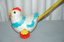 Fisher Price Push Toy Chicken RARE VINTAGE TOY