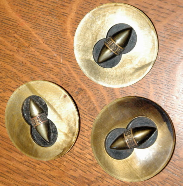 3 Large Coat Buttons of Celluloid or ?