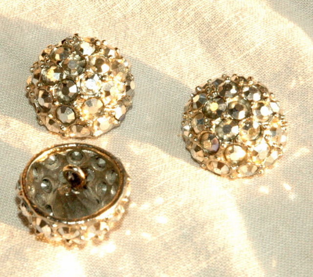 3 Metal Glass Rhinestone Dome Buttons ~make