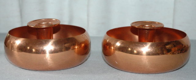 Pair of Solid Copper Candle Stick Holders