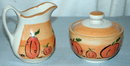 Fall Pumpkin Motif Creamer and Sugar Bowl
