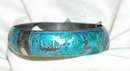 Siam Sterling & Blue Enamald Hinged Bangle
