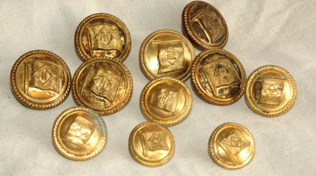 13 Brass Uniform Buttons  symbol on flag