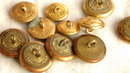 13 Brass Uniform Buttons  symbol on flag