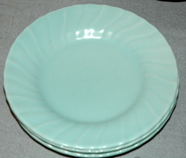 3 turquoise blue Franciscan Coronado Bread Plates by Gladding McBean