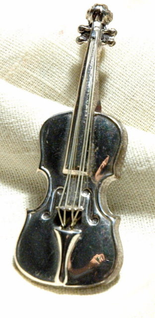 Lang Sterling Silver Violin Pin Brooch
